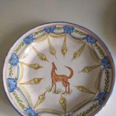 Antigüedades: RIBESALBES, ROTUNDO PLATO SIGLO XIX SERIE FIGURAS , 35 CM DE DIÁMETRO. Lote 229018500