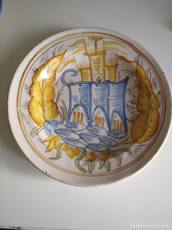RIBESALBES, ROTUNDO PLATO SIGLO XIX SERIE ARQUITECTURA , 35 CM DE DIÁMETRO (Antigüedades - Porcelanas y Cerámicas - Ribesalbes)