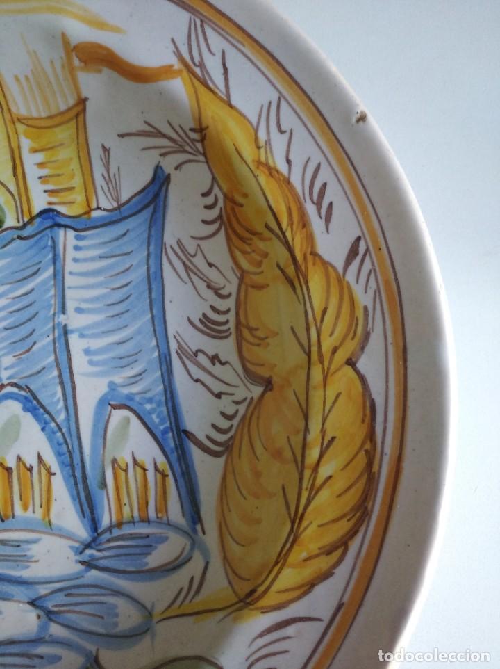 Antigüedades: Ribesalbes, rotundo plato Siglo XIX serie Arquitectura , 35 cm de diámetro - Foto 3 - 229019200