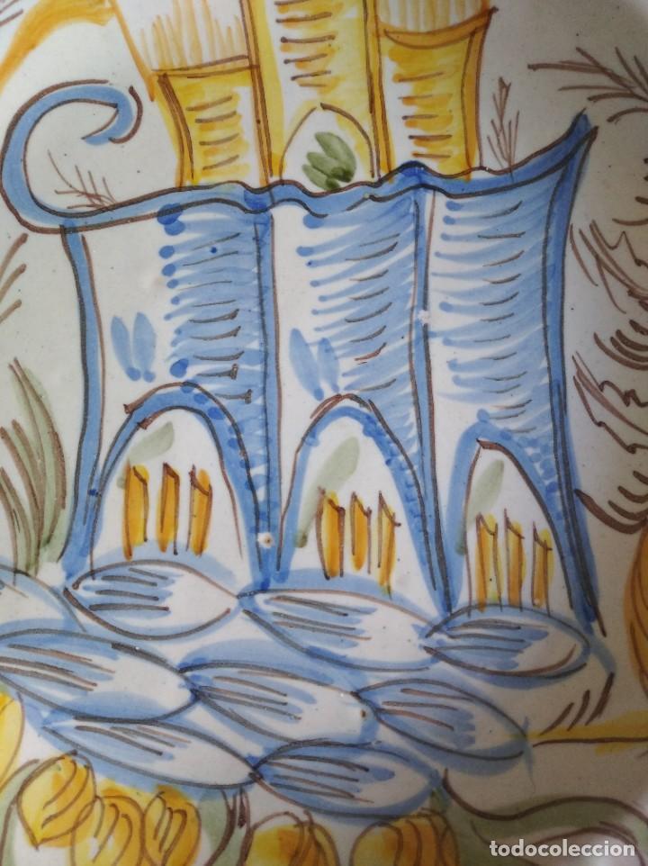 Antigüedades: Ribesalbes, rotundo plato Siglo XIX serie Arquitectura , 35 cm de diámetro - Foto 5 - 229019200