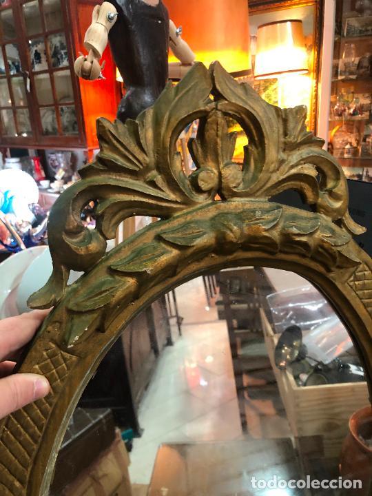 Antigüedades: ANTIGUO ESPEJO DE MADERA Y DORADO - MEDIDA TOTAL 78X49 CM - Foto 3 - 229021920