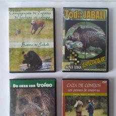 Antigüedades: LOTE 4 DVD, CAZA DEL JABALI, GALGOS,. Lote 229179345