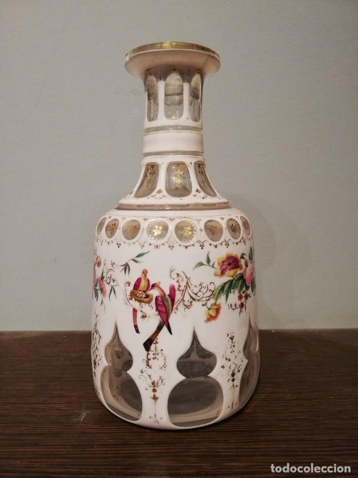 Antigüedades: INTERESANTE BOTELLA DE CRISTAL OVERLAY DE BOHEMIA S. XIX - Foto 11 - 229241910