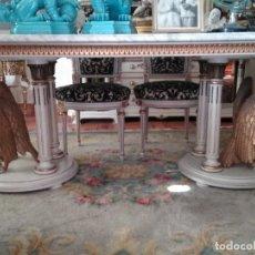 Antigüedades: CONJUNTO COMEDOR LACADO EN BLANCO. MUEBLE VALENCIANO MARIANO GARCÍA. Lote 229247490