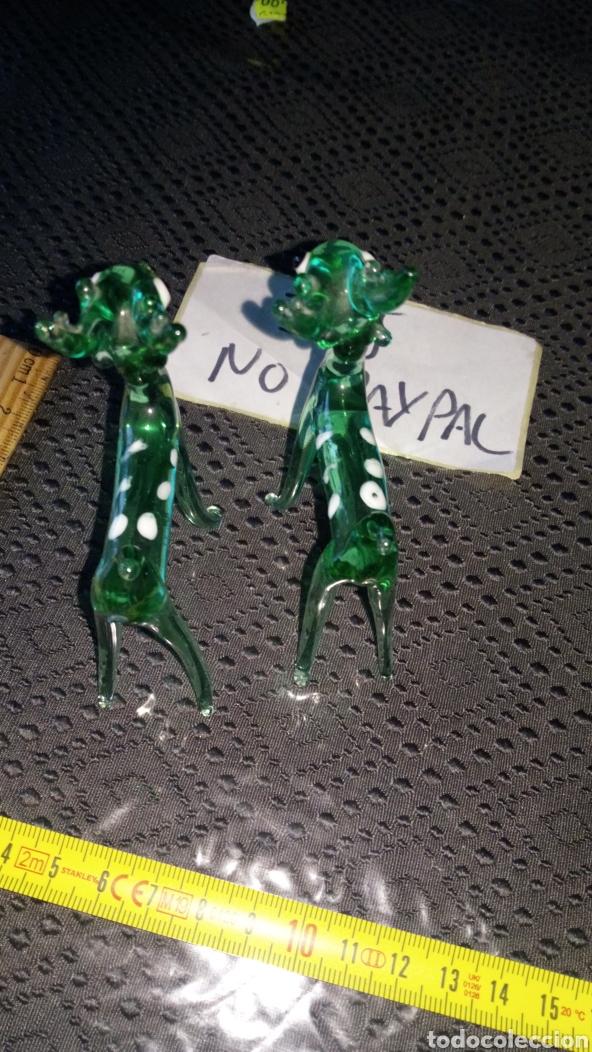 Antigüedades: Pareja reno renito ciervo cervatillo bambi cristal de murano creo navidad verdes pintas blancas - Foto 5 - 229563615