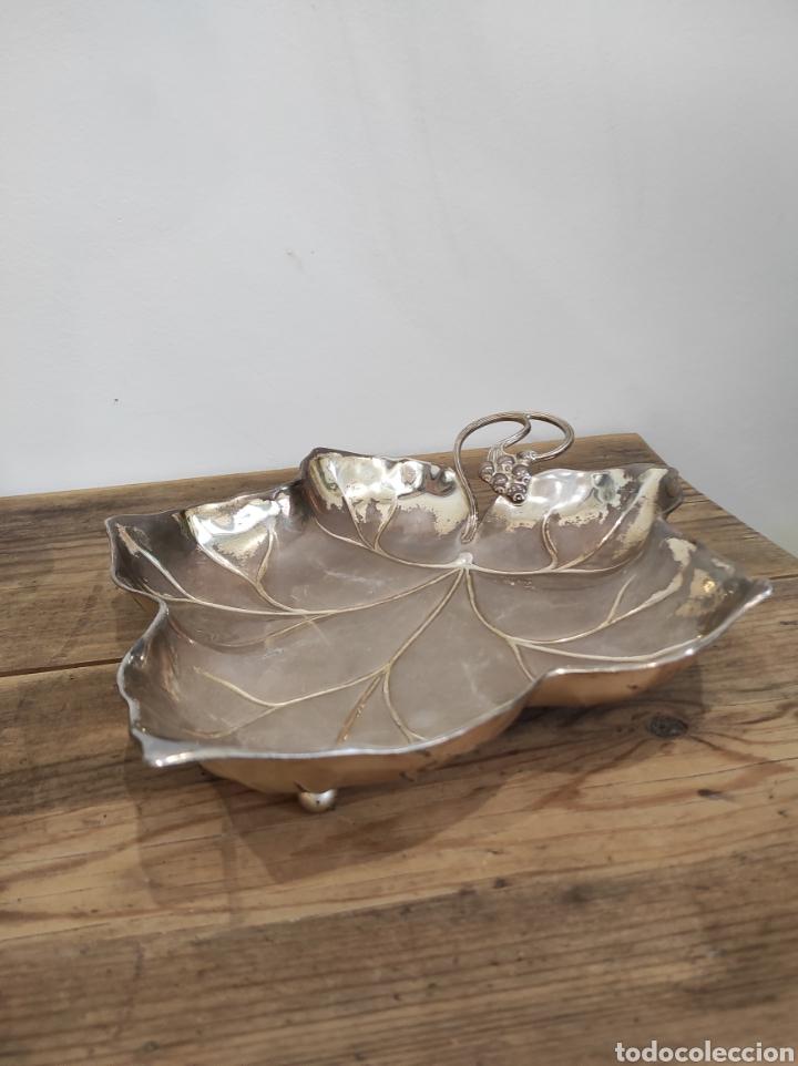Antigüedades: Antigua bandeja con forma de hoja, baño de plata. Con cuños wmf ep brass germany - Foto 4 - 229716040