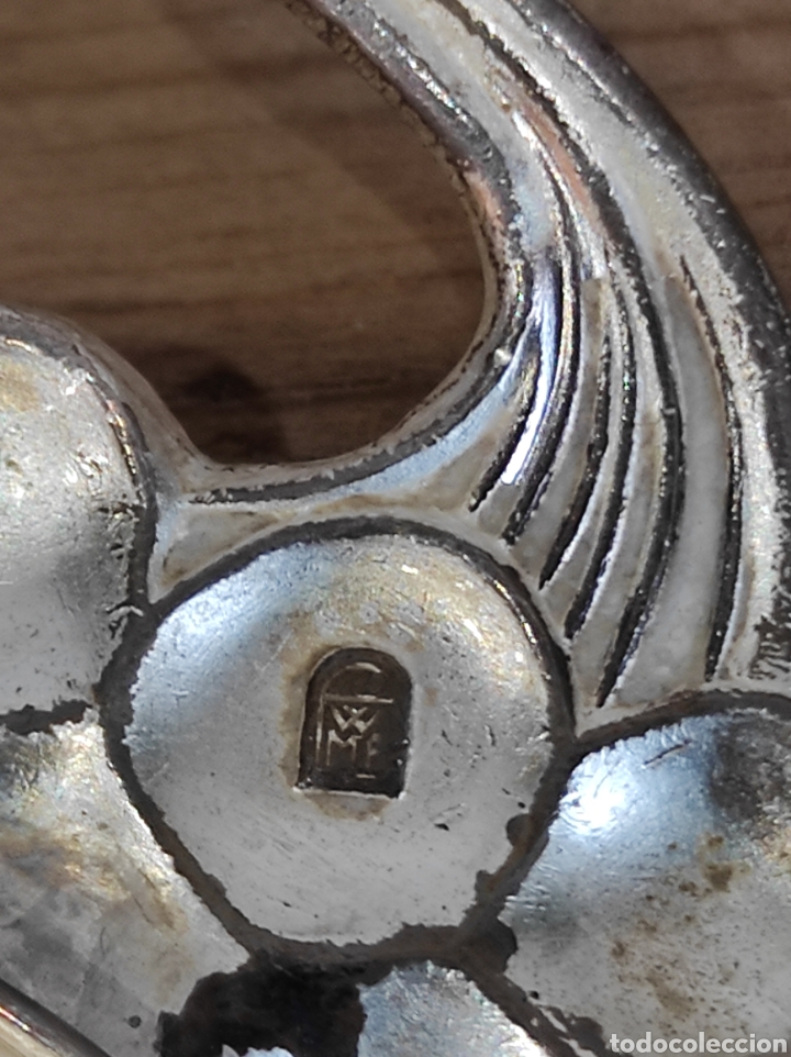 Antigüedades: Antigua bandeja con forma de hoja, baño de plata. Con cuños wmf ep brass germany - Foto 7 - 229716040