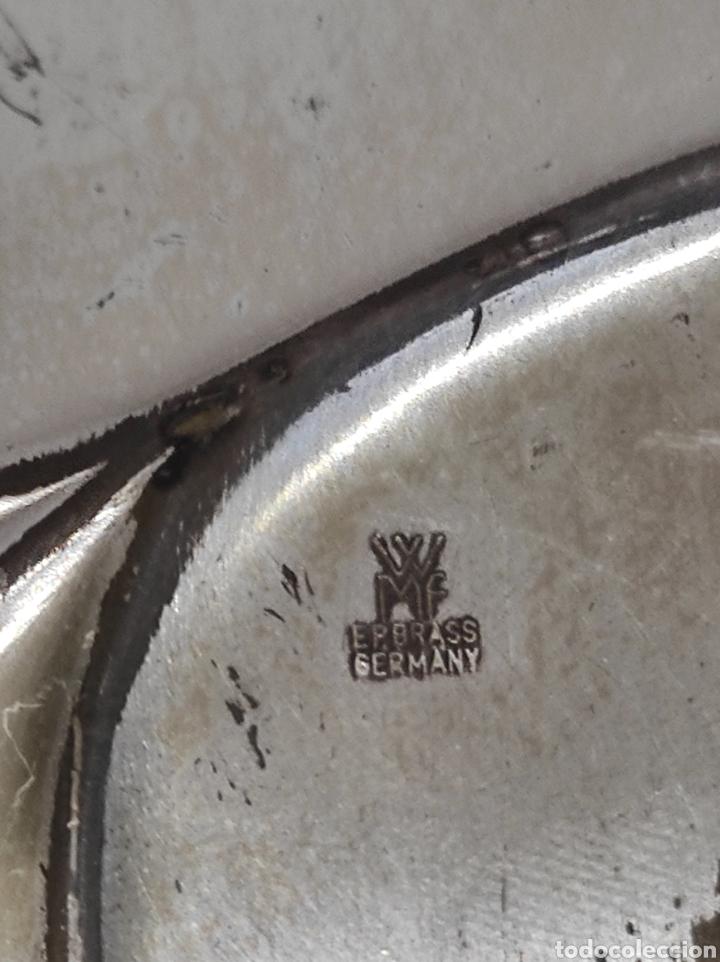 Antigüedades: Antigua bandeja con forma de hoja, baño de plata. Con cuños wmf ep brass germany - Foto 8 - 229716040