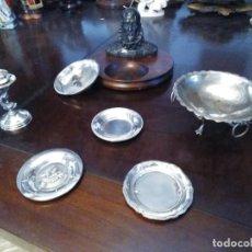 Antigüedades: CINCO CENICEROS Y CANDELABRO DE PLATA. Lote 229764825