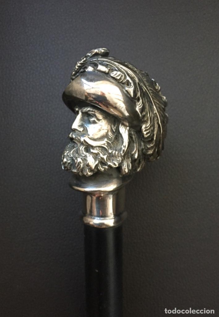 Antigüedades: Bonito Bastón con Empuñadura de Plata Busto de Conquistador Español - Foto 6 - 229798195