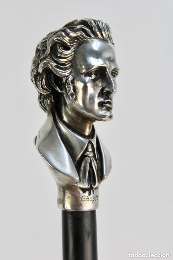 Antigüedades: Bonito Bastón con Empuñadura de Plata Busto del Compositor y Pianista Frédéric Chopin - Foto 2 - 229799035