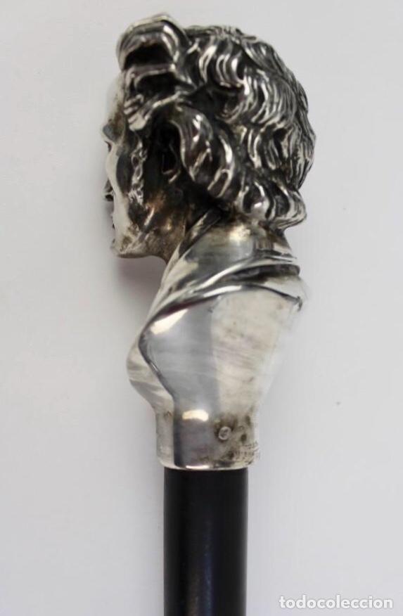 Antigüedades: Bonito Bastón con Empuñadura de Plata Busto del Compositor y Pianista Frédéric Chopin - Foto 3 - 229799035