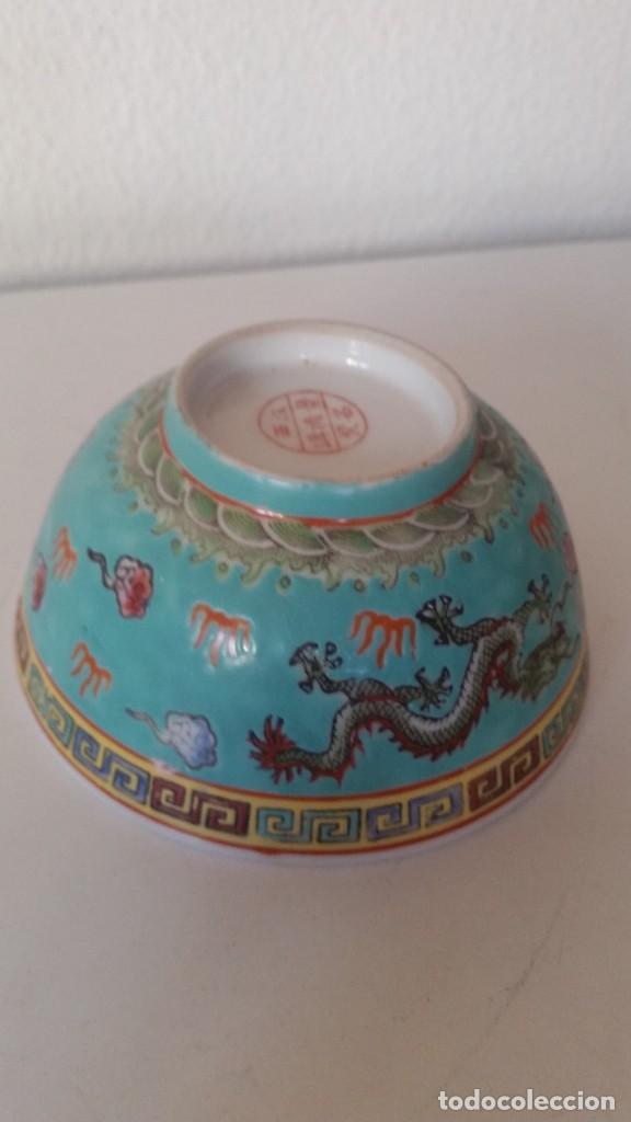 BOL EN PORCELANA CHINA HECHA Y PINTADA A MANOCON LOS DRAGONS COLOR AZUL TURQUOISE PINTURA EN RELIEVO (Antigüedades - Porcelanas y Cerámicas - China)