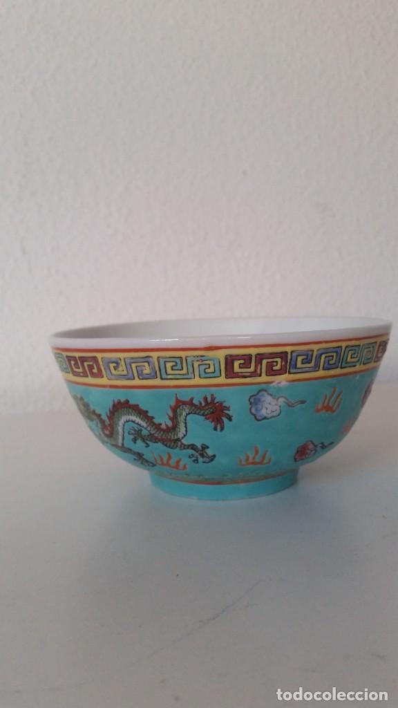Antigüedades: BOL EN PORCELANA CHINA HECHA Y PINTADA A MANOCON LOS DRAGONS COLOR AZUL TURQUOISE PINTURA EN RELIEVO - Foto 3 - 229802180