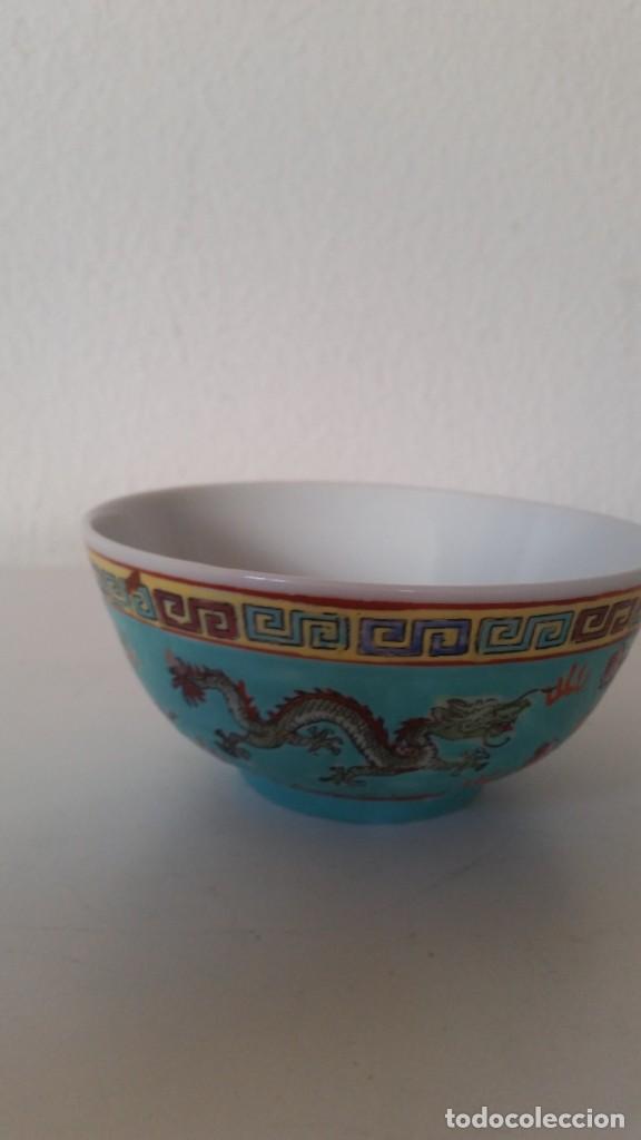 Antigüedades: BOL EN PORCELANA CHINA HECHA Y PINTADA A MANOCON LOS DRAGONS COLOR AZUL TURQUOISE PINTURA EN RELIEVO - Foto 5 - 229802180