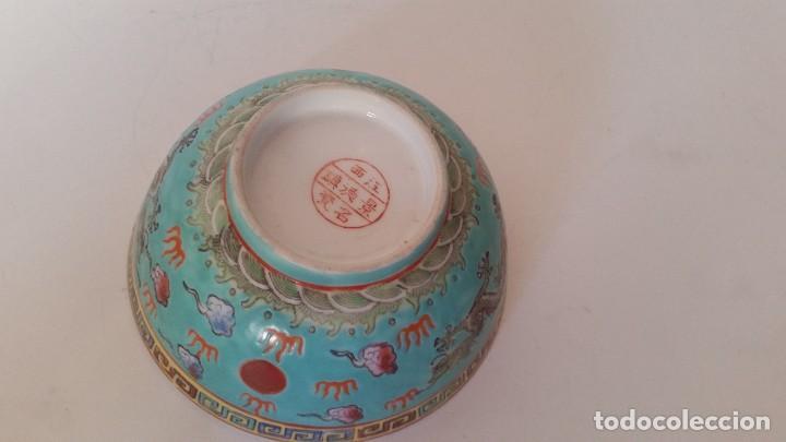Antigüedades: BOL EN PORCELANA CHINA HECHA Y PINTADA A MANOCON LOS DRAGONS COLOR AZUL TURQUOISE PINTURA EN RELIEVO - Foto 8 - 229802180