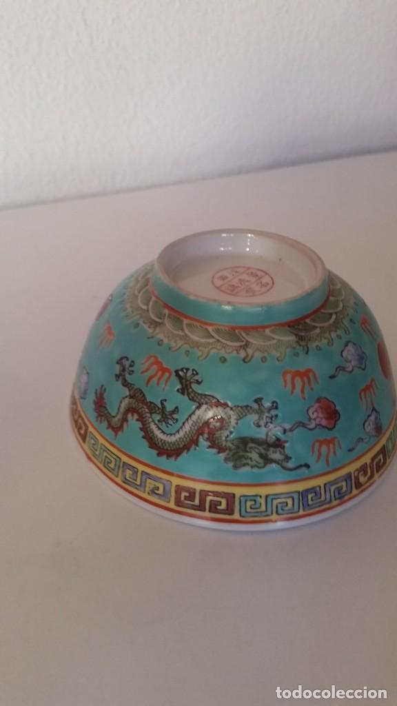 Antigüedades: BOL EN PORCELANA CHINA HECHA Y PINTADA A MANOCON LOS DRAGONS COLOR AZUL TURQUOISE PINTURA EN RELIEVO - Foto 9 - 229802180