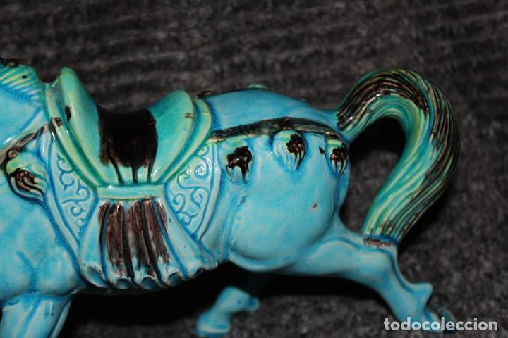 Antigüedades: ANTIGUO CABALLO PORCELANA CHINA AZUL TURQUESA - Foto 6 - 229921490
