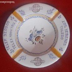 Antigüedades: CENICERO DE CERAMICA DE TALAVERA CON PUBLICIDAD. Lote 229925925
