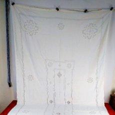 Antigüedades: GRAN MANTEL ANTIGUO EN LINO. 340X170. ABUNDANTE DECORACIÓN EN FIL-TIRÉ. ESPAÑA. SIGLO XIX-XX. Lote 230037385