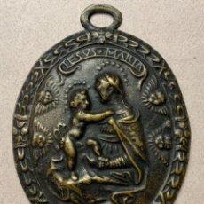Antigüedades: GRAN MEDALLA DE LA VIRGEN Y EL NIÑO (S.XVII). Lote 230074775