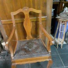 Antigüedades: SILLON MADERA Y CUERO. Lote 230077340