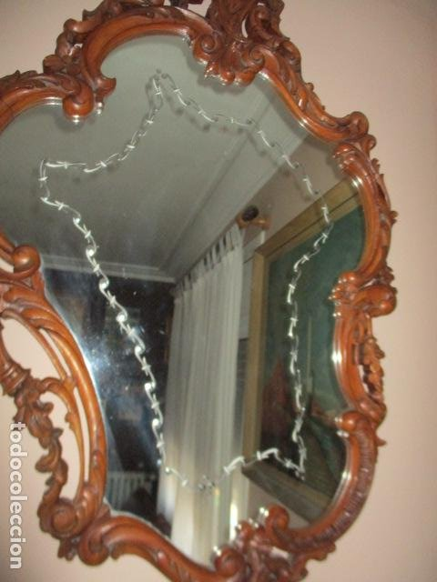 Antigüedades: Antiguo Espejo - Cornucopia - Madera Tallada. 108 x 69 cm - Foto 2 - 230160430