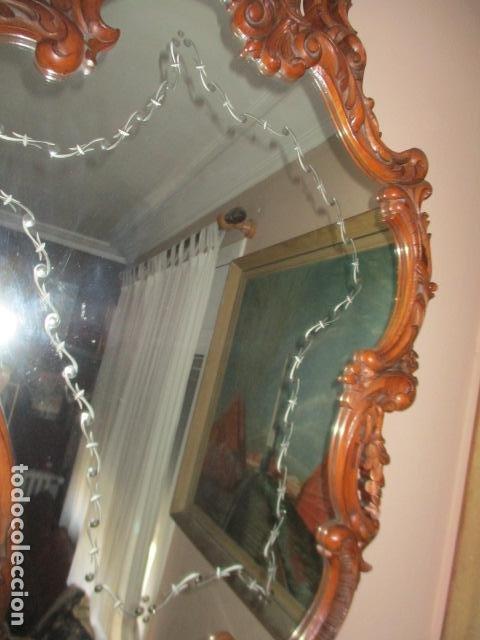 Antigüedades: Antiguo Espejo - Cornucopia - Madera Tallada. 108 x 69 cm - Foto 3 - 230160430