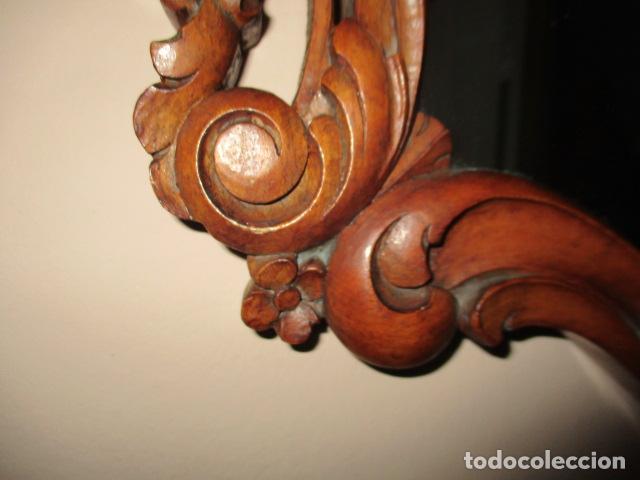 Antigüedades: Antiguo Espejo - Cornucopia - Madera Tallada. 108 x 69 cm - Foto 5 - 230160430