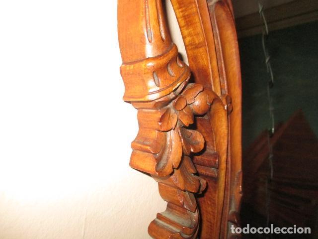 Antigüedades: Antiguo Espejo - Cornucopia - Madera Tallada. 108 x 69 cm - Foto 7 - 230160430