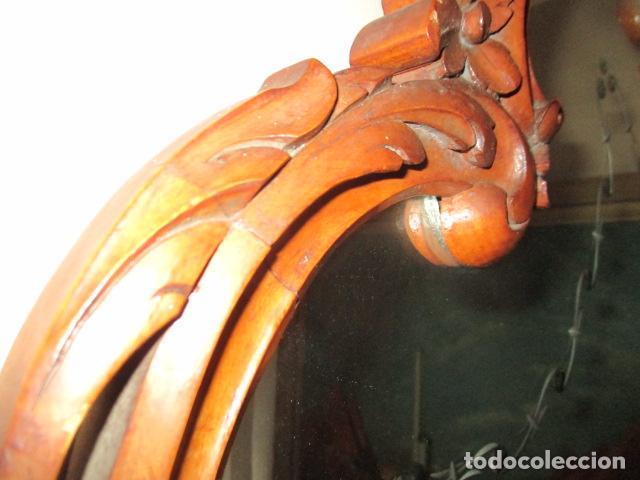 Antigüedades: Antiguo Espejo - Cornucopia - Madera Tallada. 108 x 69 cm - Foto 8 - 230160430