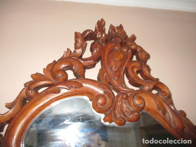 Antigüedades: Antiguo Espejo - Cornucopia - Madera Tallada. 108 x 69 cm - Foto 10 - 230160430