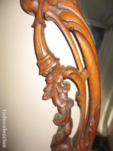 Antigüedades: Antiguo Espejo - Cornucopia - Madera Tallada. 108 x 69 cm - Foto 11 - 230160430