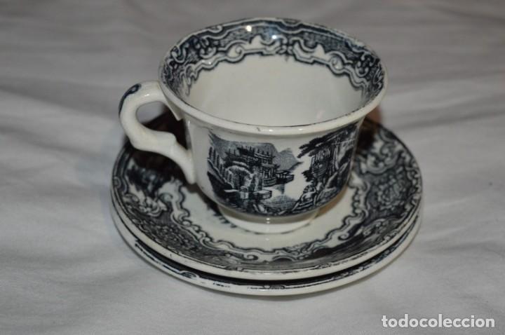 ANTIGUOS / DE LA CARTUJA / PICKMAN SA - SEVILLA - TAZA/PLATOS CAFÉ ¡MIRA FOTOS Y DETALLES! / LOTE 04 (Antigüedades - Porcelanas y Cerámicas - La Cartuja Pickman)