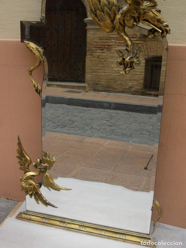 Antigüedades: IMPRESIONANTE ESPEJO DRAGONES DRAC MODERNISTA TALLA MADERA PAN DE ORO ART NOUVEAU - Foto 6 - 230335050
