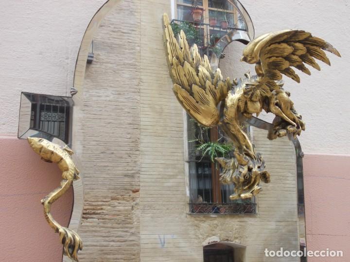 Antigüedades: IMPRESIONANTE ESPEJO DRAGONES DRAC MODERNISTA TALLA MADERA PAN DE ORO ART NOUVEAU - Foto 14 - 230335050