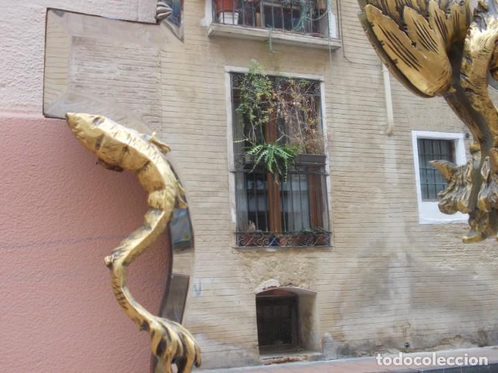 Antigüedades: IMPRESIONANTE ESPEJO DRAGONES DRAC MODERNISTA TALLA MADERA PAN DE ORO ART NOUVEAU - Foto 15 - 230335050