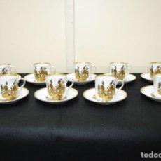 Antigüedades: JUEGO DE TAZAS DE CAFÉ ANTIGUAS DE PORCELANA. Lote 230352675