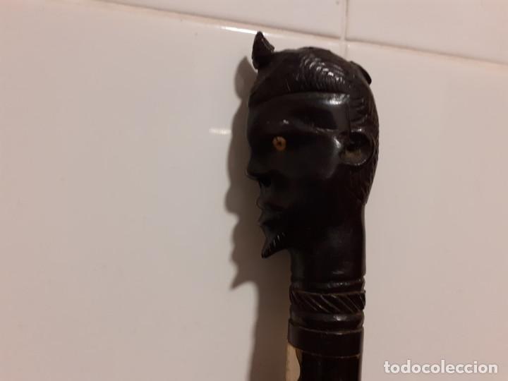 Antigüedades: baston con mango cabeza africano ebano - Foto 2 - 230404510