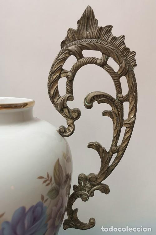 Antigüedades: Florero Cerámica y Metal - Foto 6 - 230506950