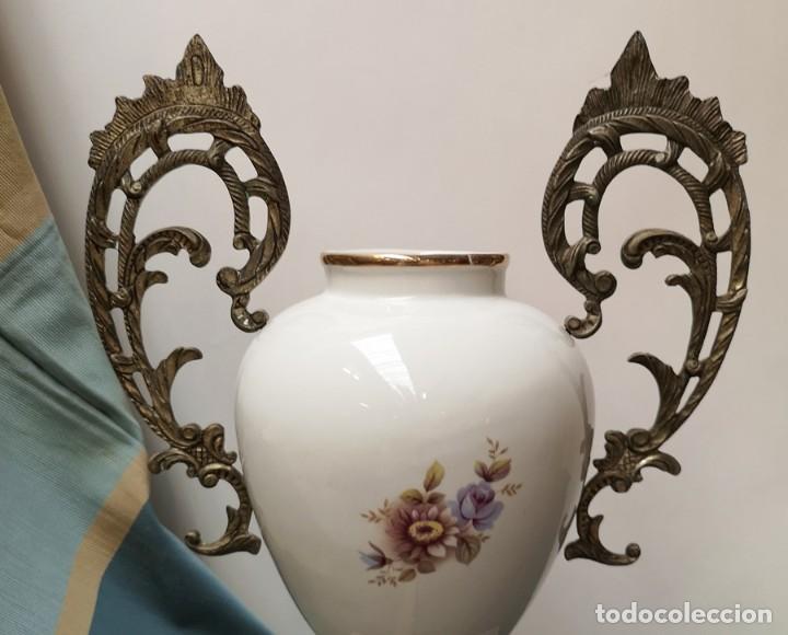 Antigüedades: Florero Cerámica y Metal - Foto 7 - 230506950