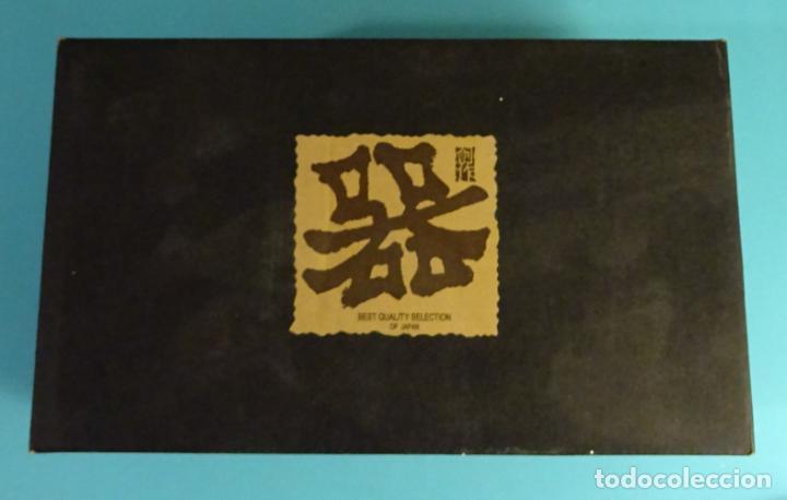 Antigüedades: BOTELLA SAKE Y 4 VASOS DE CERÁMICA CON ESMALTE CRAQUEADO EN SU INTERIOR. FABRICADO EN JAPÓN - Foto 2 - 230508770
