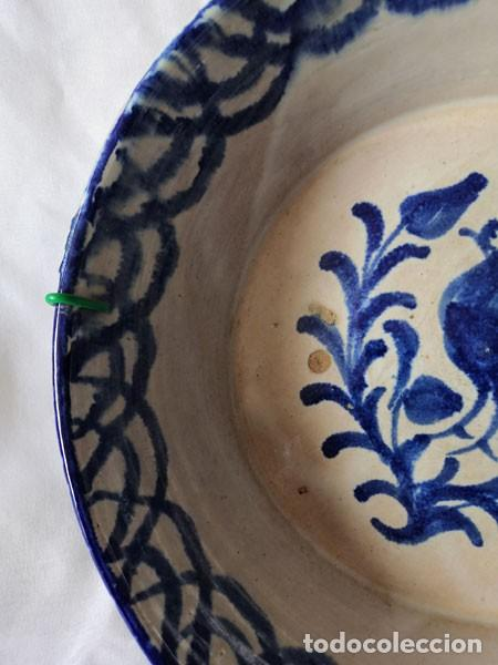 Antigüedades: PLATO - LEBRILLO DE FAJALAUZA GRANADA CON MOTIVO DE PÁJARO AZUL - Foto 4 - 230560360