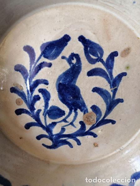 Antigüedades: PLATO - LEBRILLO DE FAJALAUZA GRANADA CON MOTIVO DE PÁJARO AZUL - Foto 9 - 230560360