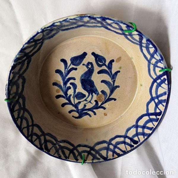 PLATO - LEBRILLO DE FAJALAUZA GRANADA CON MOTIVO DE PÁJARO AZUL (Antigüedades - Porcelanas y Cerámicas - Fajalauza)
