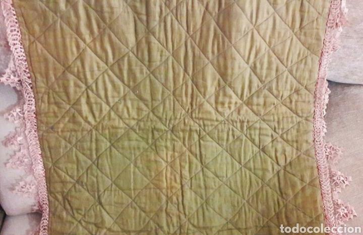 Antigüedades: Precioso tapiz, Final Siglo XIX, con filtiré sobre malla, camino de mesa antiguo bordado - Foto 7 - 197058457