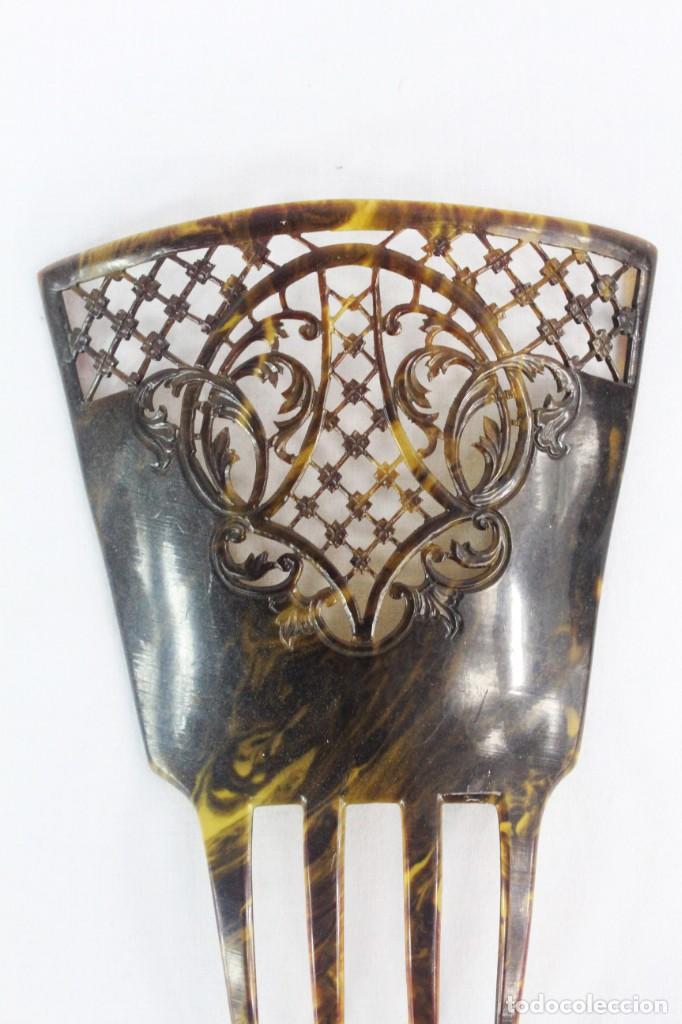 Antigüedades: Ref P - Peineta en celuloide realizada a mano. ca 1910 20x13cm, teja 12x13cm. Art Nouveau - Foto 2 - 230666620