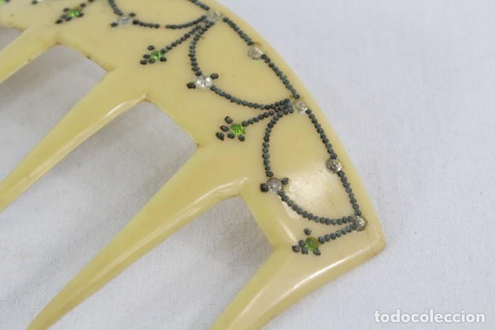 Antigüedades: Ref P - Peineta en celuloide realizada a mano. ca 1910 12x7.5cm Art Nouveau - Foto 3 - 230667115