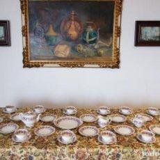 Antigüedades: MUY BELLO JUEGO DE CAFÉ. PORCELANA CHECOSLOVAQUIA. 40 PIEZAS. FILO EN ORO. DECORACIÓN FLORAL. SELLO.. Lote 230683640
