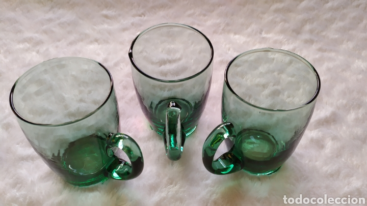 JARRAS DE VIDRIO SOPLADO VERDE. NUEVAS SIN USAR. (Antigüedades - Cristal y Vidrio - Murano)